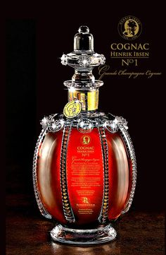 """Finest French Cognacs: """"Henrik Ibsen No. 1 Grande Champagne Cognac"""" Is An Exclusive Blend Of Cognacs In A Crystal Decanter Alcohol Bottles, Liquor Bottles, Drink Bottles, Perfume Bottles, Tequila, Cigars And Whiskey, Scotch Whiskey, Cocktail Drinks, Alcoholic Drinks"""