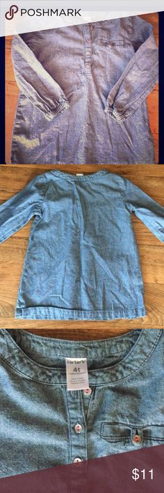 Size 4T chambray toddle shirt Carter's brand so it's built to last but comfortable enough to wear dat to day! size 4T but I felt it ran a bit smalll... Like dad's work shirt!!! Carter's Shirts & Tops Tees - Long Sleeve