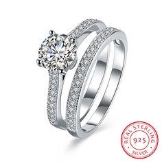 925 Sterling Silver Cubic Zircon Double Rings