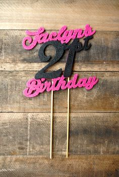 This listing is for a custom, hot pink and black hand-glittered cake topper. I have different colors to choose from if you want a different