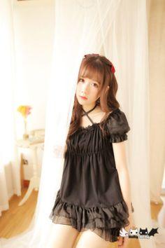 Japanese-Harajuku-Lolita-Retro-Falbala-Short-Sleeve-Chiffon-Dress-Shorts-4-Color
