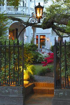 "How I love Charleston in the Spring! ""Spring Evenings"" -Garden Gate, Two Meeting Street Inn, Charleston, SC © Doug Hickok Beautiful Gardens, Beautiful Homes, Beautiful Places, Garden Doors, Garden Gates, Charleston Gardens, Charleston Sc, Southern Homes, Southern Charm"