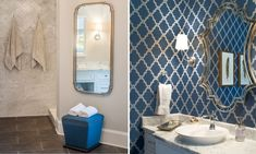 Classic Custom Home - Nandina Home & Design master bathroom with blue wallpaper and marble