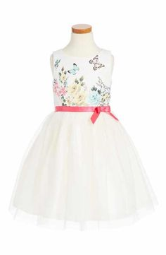 Ruby & Bloom Floral Butterly Fit & Flare Dress (Toddler Girls, Little Girls & Big Girls)