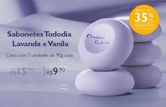 Sabonete Aconchego - Lavanda e Vanila, por apenas R$9,90. Promoção exclusiva nas compras feitas em rede.natura.net/espaco/josenia