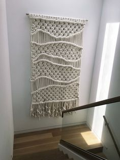 Giant Fiber Art - Custom Made - Weaving and Textile Art - Extra Chunky Natural Cotton Cord