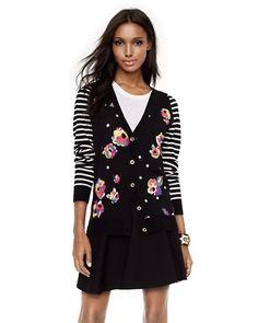 Floral-Striped Cardigan