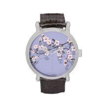 Cherry blossom blue wristwatch