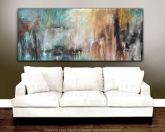 Massive Original Modern Abstract Art 6 foot Blue and Rust Contemporary Painting 30 X 72 Free Shipping