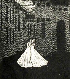 František Kobliha (I877-I962) detail title page woodcuts of Maurice Maeterlinck's play The Death of tintagiles