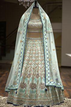 Buy Off White & Pink Raw Silk Zardosi Embroidered Bridal Lehenga Online Samyakk Bangalore Indian Wedding Wear, Indian Bridal Outfits, Indian Dresses, Bridal Dresses, Wedding Outfits, Indian Clothes, Indian Wear, Floral Lehenga, Red Lehenga