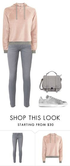 """""""The girl in the pink jumper"""" by charlotteh2001 ❤ liked on Polyvore featuring AG Adriano Goldschmied, Topshop and adidas Originals"""
