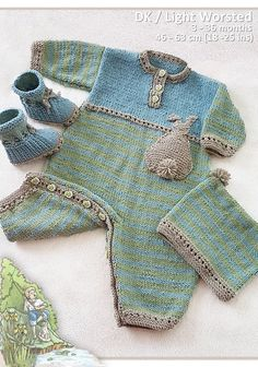 Bunnykids Romper, beanie and booties knitting pattern www.tbeecosy.com