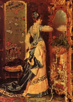 Woman Before A Mirror Catala Luis Alvarez Spanish, 1836-1901)