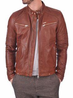 Lambskin Leather Jacket Genuine Mens Stylish Motorcycle Biker Ten slim fit X77 #WesternOutfit #Motorcycle