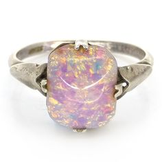 Vintage Art Deco Silver Opalescent Pink Gold Glass Ring | Clarice Jewellery | Vintage Costume Jewellery