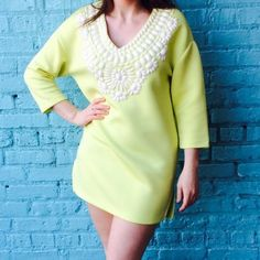 "HOST PICK YELLOW DRESS Scuba material. Great statement dress. Model 5""4. Size medium, true to size. Endless Rose Dresses Midi"