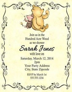 Winnie the Pooh Baby Shower or Birthday Party Invitations Personalized