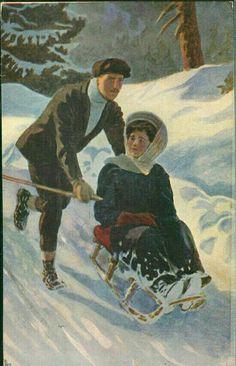 Postkort Kunstnerkort Andreas Bloch brukt 1917