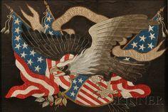 nice Couples Tattoos Ideas - Chinese Export Patriotic American Eagle Needlework, century, silk and metal. American History, American Flag, American Pride, Worlds Best Tattoos, Eagle Tattoos, Patriotic Quilts, Classic Tattoo, Silk Screen Printing, Fiber Art