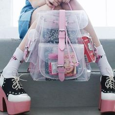 "Kawaii pink transparent backpack  Coupon code ""cutekawaii"" for 10% off"