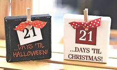 countdown to any event. Family members birthdays as well. 2x4 Crafts, Wood Block Crafts, Fall Crafts, Holiday Crafts, Holiday Fun, Wood Blocks, Winter Christmas, Christmas Holidays, Christmas Decorations