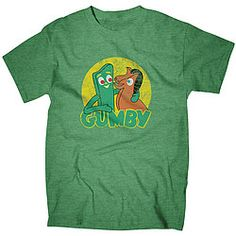 Happy 60th birthday, Gumby!  Heather green T-shirt features our favorite claymation pals from the creative mind of Art Clokey!