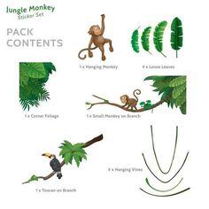 Jungle Monkey Children's' Wall Sticker Set | Etsy Jungle Wall Stickers, Childrens Wall Stickers, Vinyl Wall Stickers, Decals, Contemporary Wall Stickers, Baby Chameleon, Jungle Scene, Monkey, Etsy