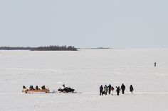 On the ice of Bothnic Sea in Nallikari in Oulu, Finland
