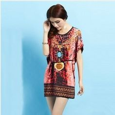 Plus size women dresses wholesale 2014 summer new bohemia bat sleeve Ice silk dress print floral prints lace dress free shipping