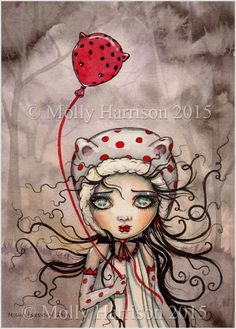Sweet Baboo with Balloon Big Eye Big Eye by MollyHarrisonArt