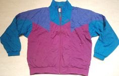 VINTAGE ADIDAS TRACKSUIT TOP JACKET SHINE NYLON BLUE PURPLE IBIZA M L GB 40/42