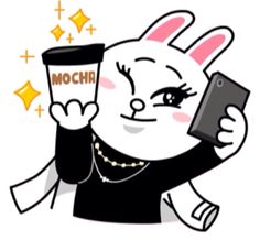 Cony taking selfie whilst posing with mocha