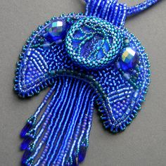 Beaded  pendant Crescent moon  blue violet and by Anabel27shop,