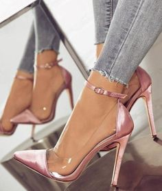 [£ Women's Fabric Stiletto Heel Pumps Closed Toe With Buckle shoes - VeryVoga - Women's style: Patterns of sustainability Heeled Boots, Shoe Boots, Women's Shoes, Shoes High Heels, Shoes Style, Shoes Sneakers, Sexy High Heels, Dress Shoes, Gold High Heels