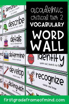 Critical academic vocabulary has core research showing common links to standardized test scores as well as overall reading comprehension for college and career readiness. Students will look to this vocabulary word wall for help in writing answers to extended responses. Vocabulary Word Walls, Academic Vocabulary, Vocabulary Building, Vocabulary Activities, English Vocabulary, Word Study, Word Work, Esl, 4th Grade Reading