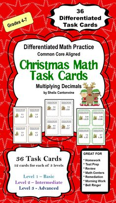 These Christmas Task Cards features 36 differentiated Multiplying Decimals Task Cards with a Christmas theme. There are 3 levels of problems so you can differentiate by student or class.  Great for homeschooling families too!
