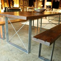 reclaimed wood dining table.