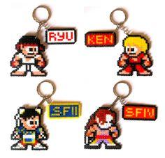 Street Fighter Perler Sprite Keychain by Regalopia Shop - https://www.etsy.com/shop/Regalopia