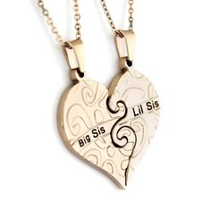 Sister Necklace Big Sis Lil Sis Heart Sisters Pendant Set (2pcs), Perfect Sister gift 18' Chains Included -- Check out this great jewelry @ http://www.amazon.com/gp/product/B00KKYZ3RQ/?tag=finejewelry4u.com-20&puv=120716020413