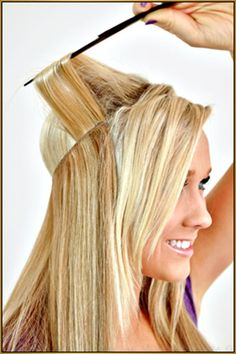 """Fits like a halo Hair Extension- Human Remy Flip On crown wire 20"""" long…"""