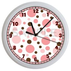 pink and brown wall decor | Pink and Brown Polka Dots Nursery Wall Clock Children's Decor Art Girl ...