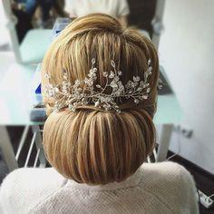wedding updo hairstyle with headpiece via antonina roman
