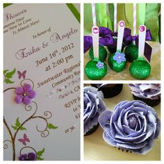 Invitations, cake pops and cupcakes for Garden themed baby shower