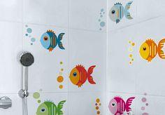 ideas decoración de baños con vinilos de pececitos nicolasito.es