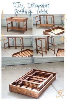 A fantastic folding table design - set up as a potting bench, but would be great for a camp kitchen. A fantastic folding table design - set up as a potting bench, but would be great for a camp kitchen. Easy Diy Projects, Wood Projects, Woodworking Projects, Woodworking Plans, Woodworking Machinery, Woodworking Furniture, Sauder Woodworking, Woodworking Magazines, Woodworking School