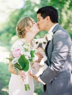 French bulldogs are the most beautiful addition to this #wedding shot.