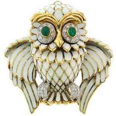 D. Webb Diamond, Emerald, Enamel & Yellow Gold Owl Pin/Pendant