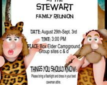 Caveman, Dinosaur or Prehistoric Family Reunion or Party Theme Digital Download of family reunion or party ideas, invitations and games