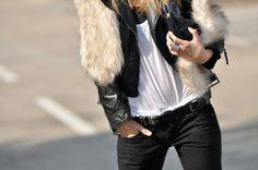 Black, white, fur.